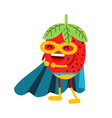cute cartoon smiling strawberry superhero in mask vector image