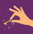 golden sparkling key in hand vector image