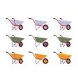 Set of grey green yellow wheelbarrows vector image