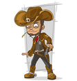 Cartoon cool cowboy in leather jacket vector image