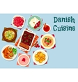Danish and scandinavian cuisine dishes icon vector image