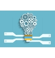 Light bulb paper cut with gears and copyspace 3d vector image vector image