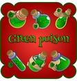 Bottles with green poison on a red background vector image