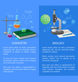 chemistry and biology banners with flasks vector image