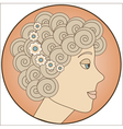 Circle with blonde girl inside vector image