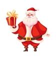 Funny flat santa holding christmas gift box vector image