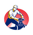 Pipefitter Turning Pipe Valve Retro vector image