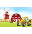 Tractor in the farmyard vector image