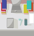 Abstract working place modern office interior flat vector image