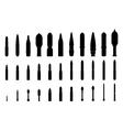 artillery shells silhouettes set vector image