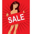 Beautiful nude woman with a poster inscription vector image