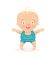 cute cartoon happy baby boy trying to walk vector image