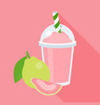 guava smoothie in plastic glass vector image