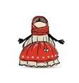 Handmade folk doll mascot sketch for your design vector image