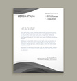 Modern letterhead design with black wave vector image