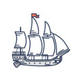 old wooden ship with red flag outline vector image
