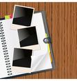 Photos on diary vector image