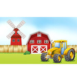 Tractor in the farmyard vector image