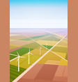 wind turbine energy renewable station field vector image