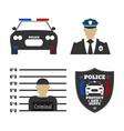 police car police sign officer criminal man vector image