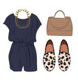 casual chic styling idea look with romper bag vector image vector image