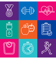 set of fitness icons and achievement badges vector image