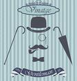 Retro gentleman elements set - bowler moustache vector image