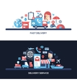 Flat design delivery service website headers vector image