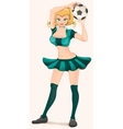 Soccer girl holding ball Woman cheerleader vector image