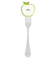 Apple on fork vector image