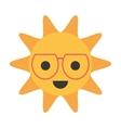cartoon funny sun with sunglasses smile vector image