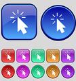 Cursor icon sign A set of twelve vintage buttons vector image