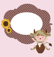 Fantasy frame design with cute baby cow character vector image