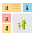 flat icon people set of boys daugther grandpa vector image