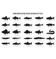 freshwater fishes silhouettes vector image
