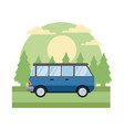 vintage van vehicle in the forest vector image