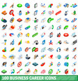 100 business career icons set isometric 3d style vector image
