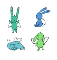 Set of cute rabbits with wings vector image