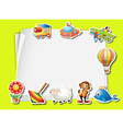 Paper template with many toys vector image