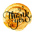 thank you vintage text on round gold vector image