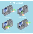 ATM terminal usage Payment with credit card take vector image