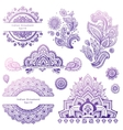 Set of Indian floral ornaments Mandala Henna vector image
