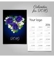Calendar with a bouquet of heart shape vector image