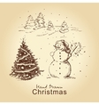 Christmas hand drawn card vector image
