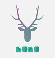 Polygonal hipster logo with head of deer in mint vector image vector image