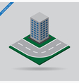 isometric city - road and building vector image