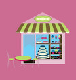 bakery flat shop with different confectionery vector image