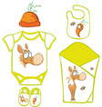 Cute Baby Layette with cute horse and carrot - vector image
