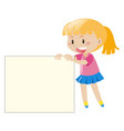 happy girl holding white paper vector image