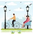 riding rickshaw in town tourist enjoy city scene vector image